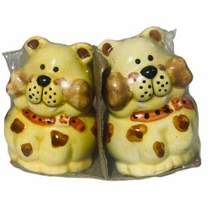 Vintage yellow dogs salt and pepper shakers